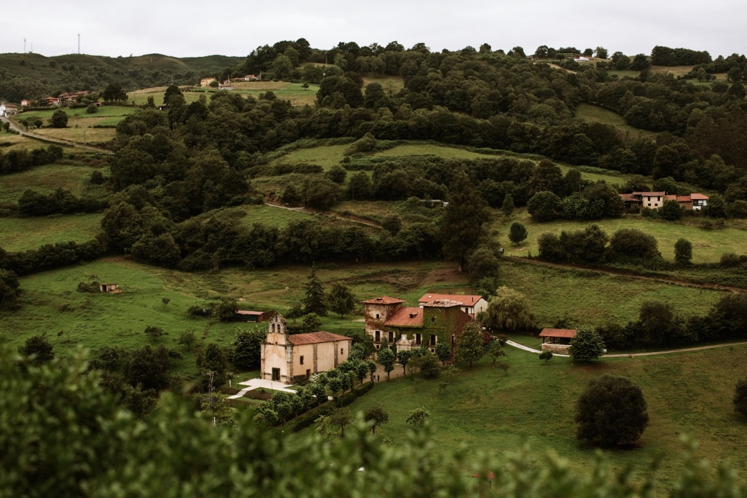 Asturias Wedding view of the venue amongst the hills of Northern Spain