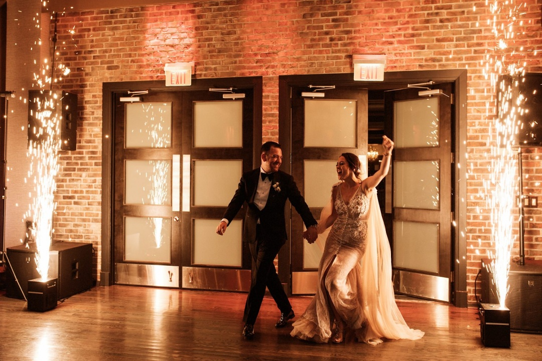 Ludlow Hotel Wedding - Bride and Groom enter the reception with fireworks