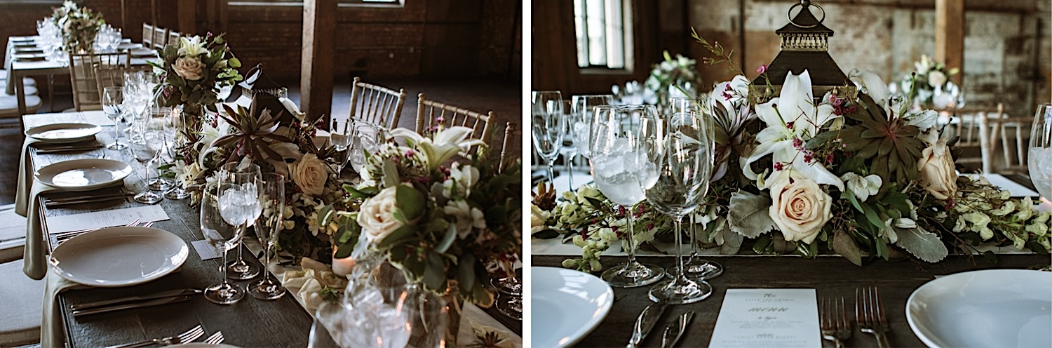 Flowers and table settings to match at a Greenpoint Loft Wedding