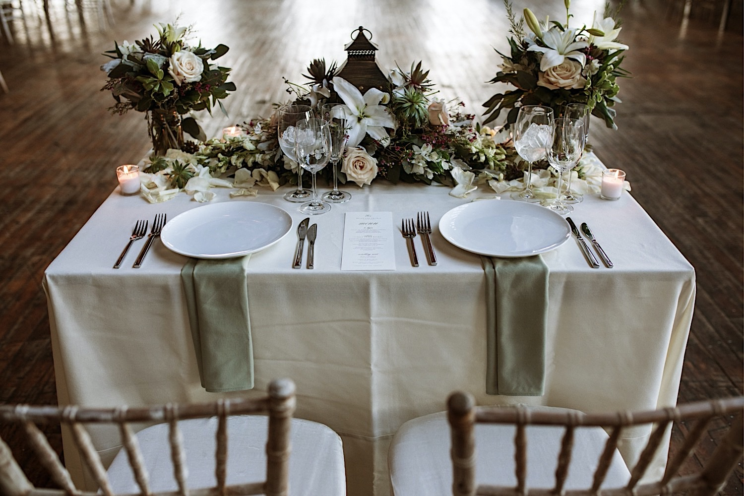 Table for bride and groom at the Greenpoint Loft