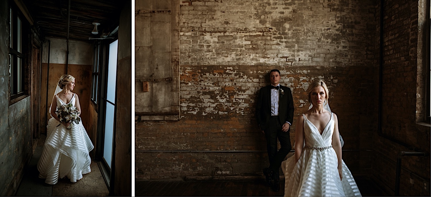 Wedding Photos at the Greenpoint Loft - Bride and Groom in a Stoic Pose