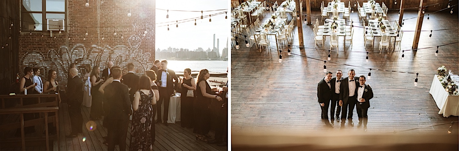 Greenpoint Loft Wedding Guests Enjoying Sunset from the Rooftop