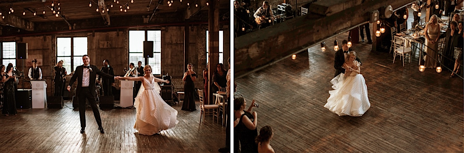 Bride and Groom dance on the dance floor on their Wedding Day at the Greenpoint Loft