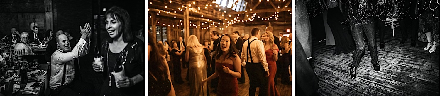 Three photos of wedding guests dancing at the reception at Greenpoint Loft