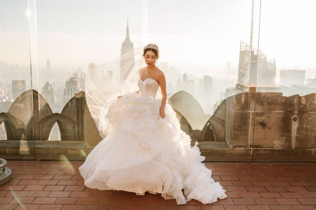 New York City Pre Wedding Bride and vera Wang dress