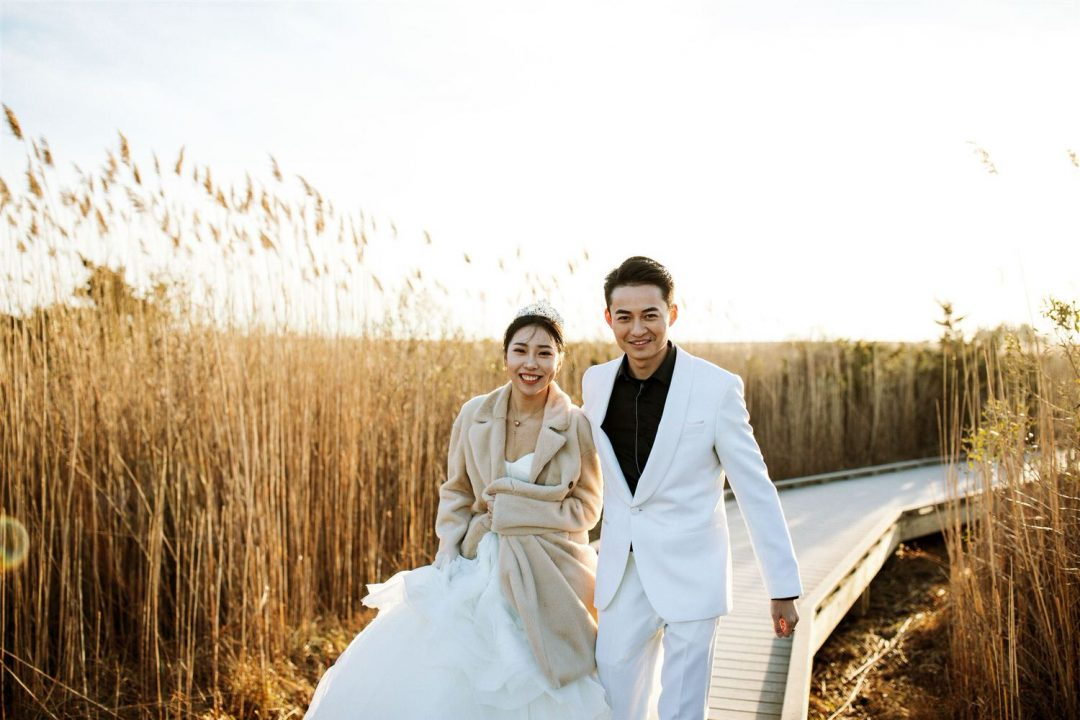 Long Island Bride and Groom at Sunset at Fire Island