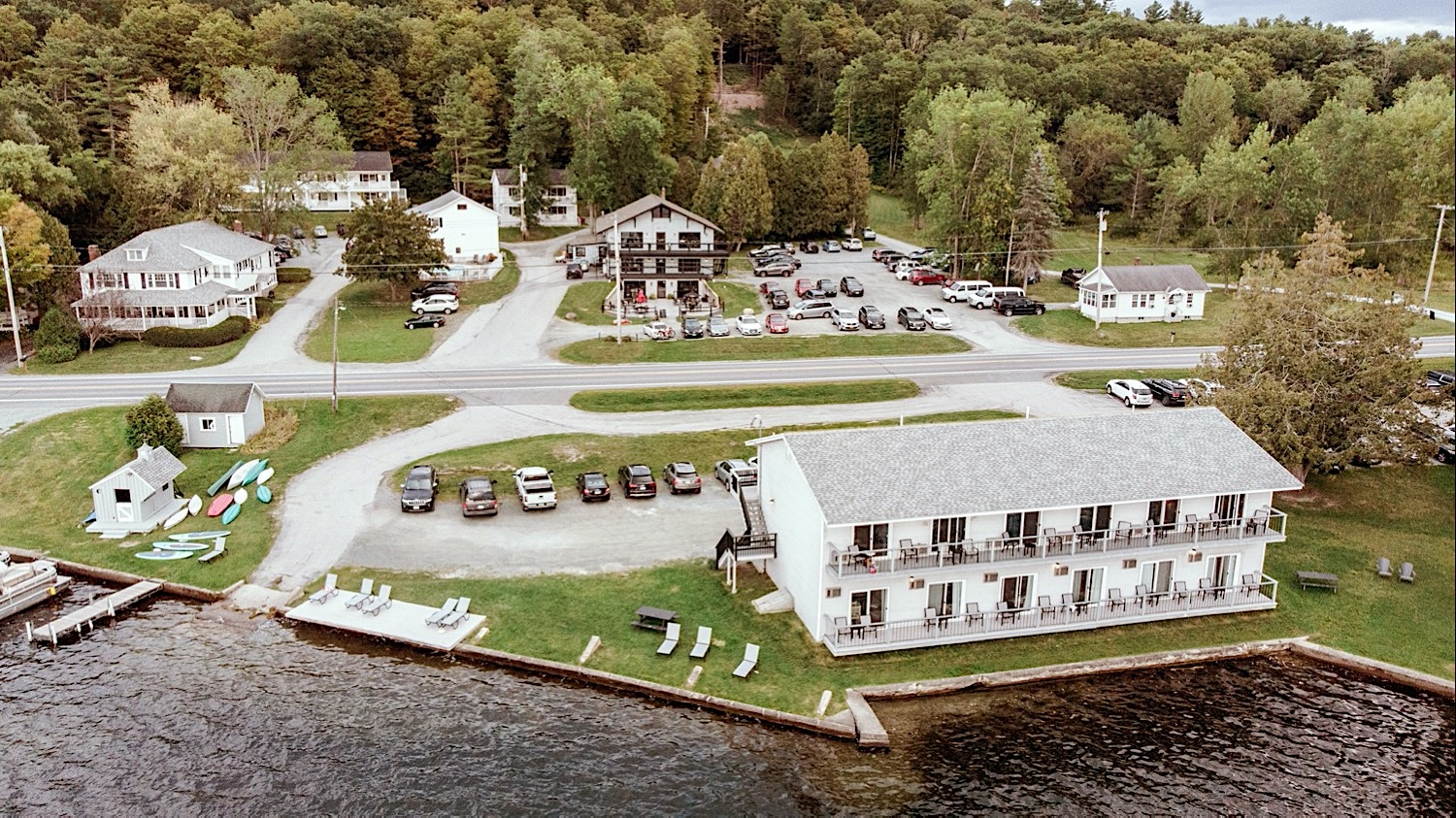 Aerial view of Bomoseen Lodge and Taproom