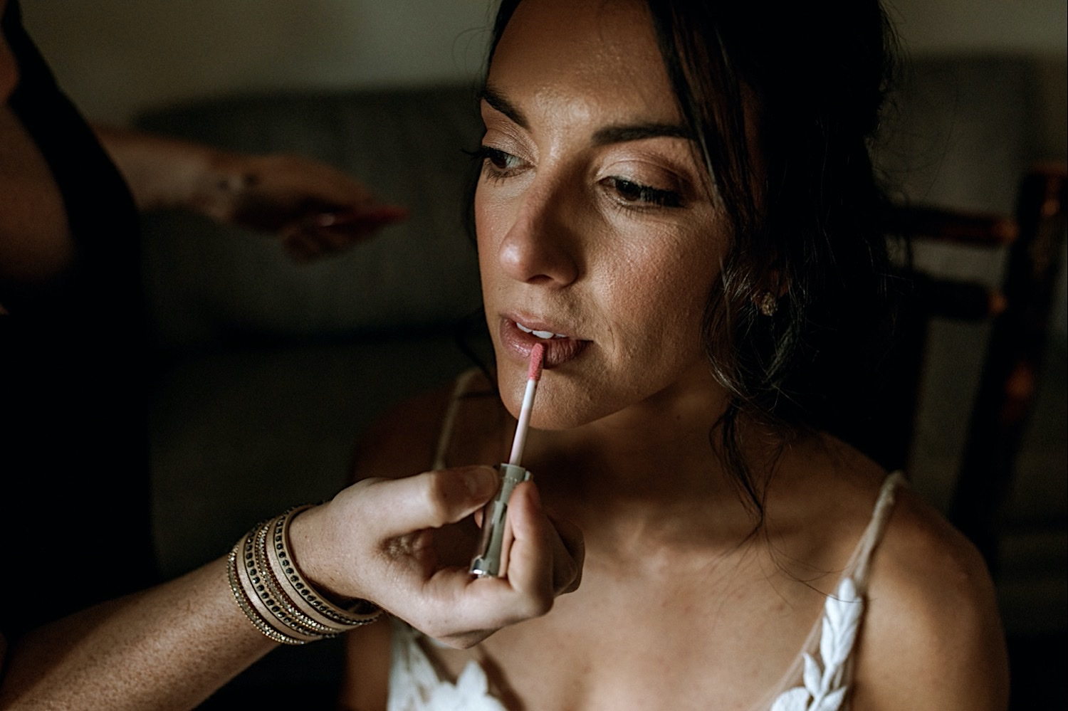 Bomoseen Lodge Wedding - A Bride getting ready with make up and lip liner