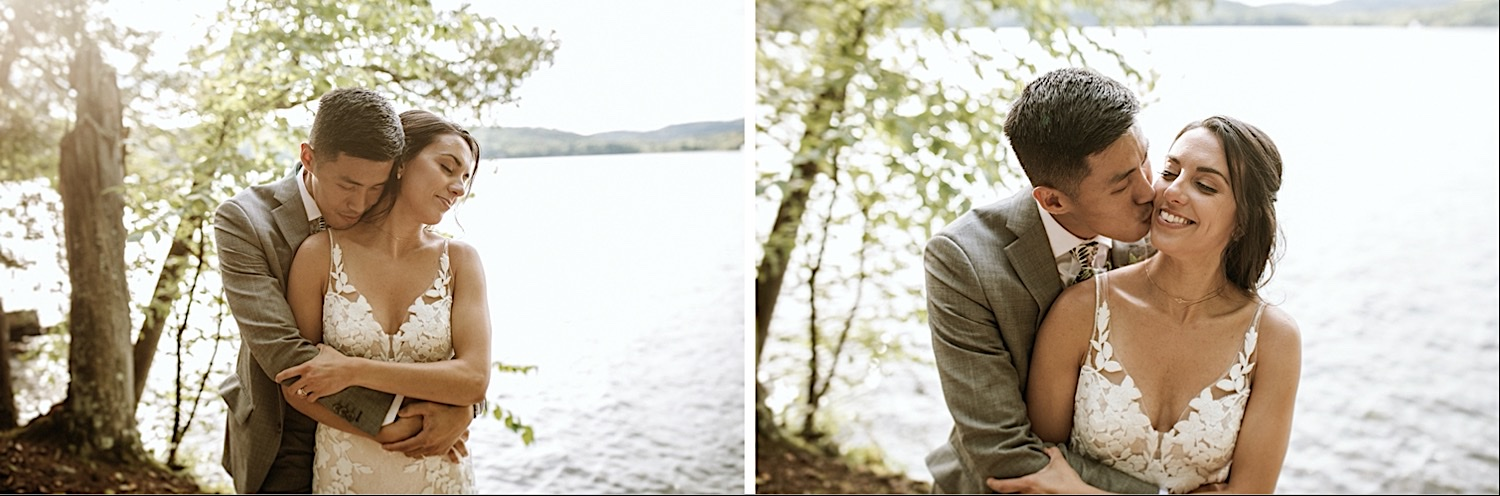 Bomoseen Lodge Wedding - A series of two pictures of bride and groom hugging and holding each other by the lake