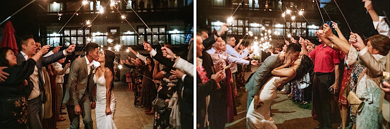 Bomoseen Lodge Wedding - A beautiful sparkler exit bride and groom kiss under the light of sparklers