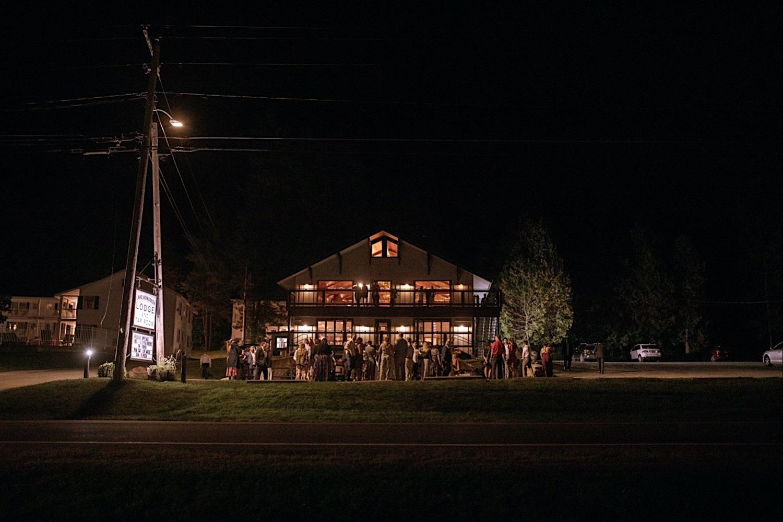 Bomoseen Lodge Wedding - the Bomoseen Lodge and Taproom at Night