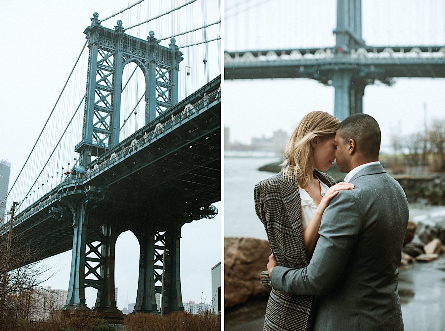 Wedding - A couple kisses under the rain with the Manhattan Bridge as a backdrop