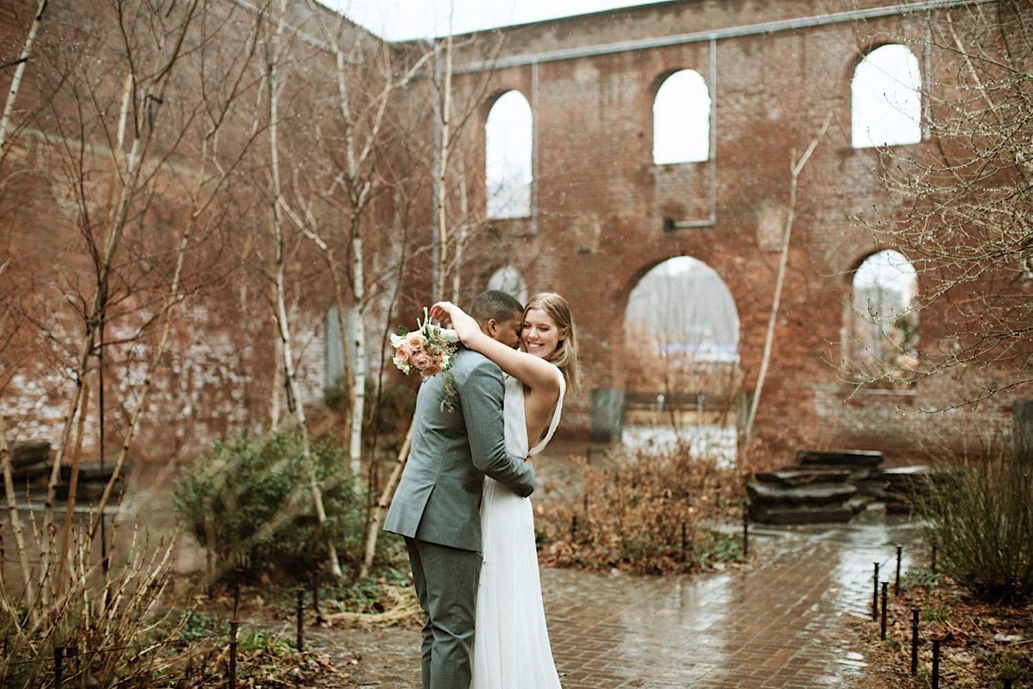 DUMBO Wedding Photography - Kissing Under the Rain at St. Ann's Warehouse