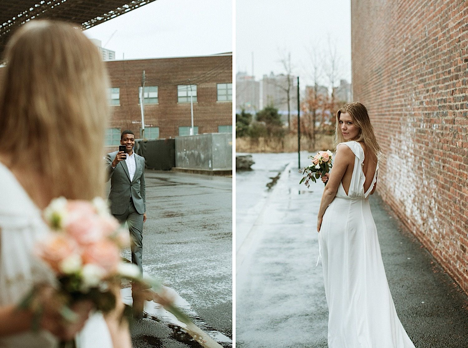 DUMBO Wedding Photography Candids - Groom takes a photo of bride with his cell phone. Bride looks back smiling in a sleeveless dress. Ground is wet with rain