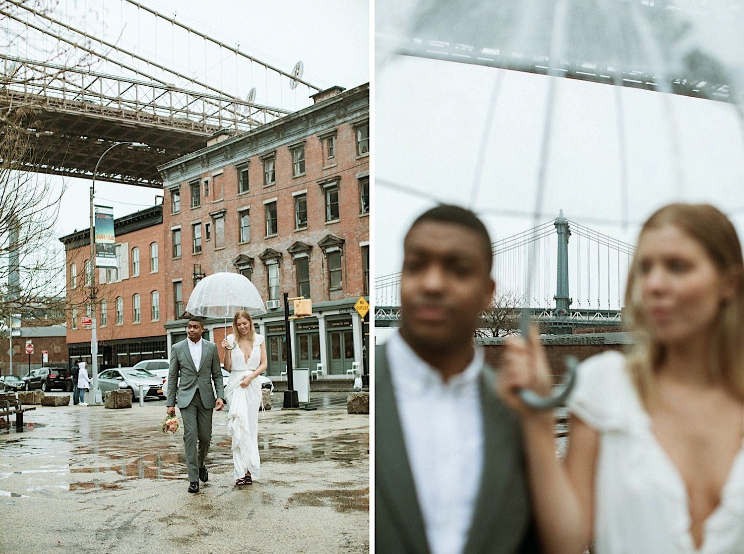 DUMBO Wedding Photography - Bride and groom arm in arm walking towards the pier in DUMBO Brooklyn