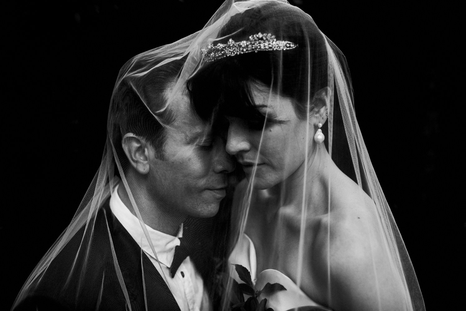 Wedding at the Brooklyn Botanic - black and white photograph of couple under veil